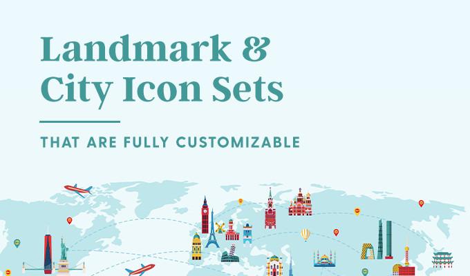 25 Fully Customizable City and Landmark Icon Sets