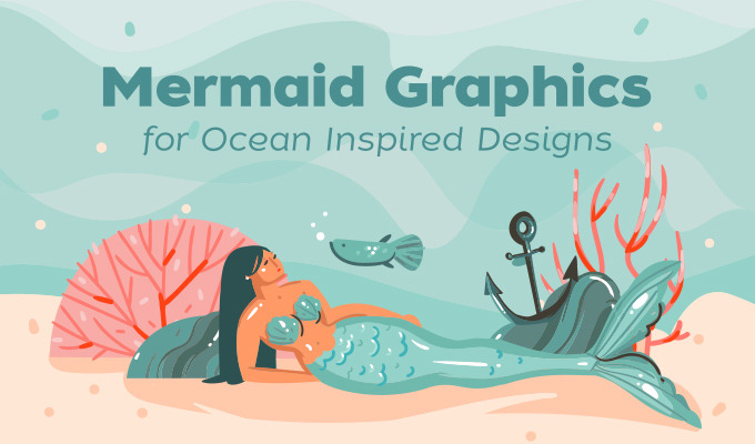 Mermaid Graphics for Ocean Inspired Designs