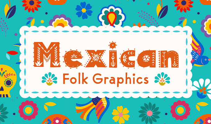 Colorful Mexican Folk Graphics for Día de los Muertos Designs