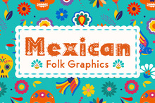 Colorful Mexican Folk Graphics for Día de los Muertos Designs