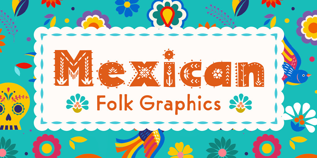 Colorful Mexican Folk Graphics for Día de los Muertos